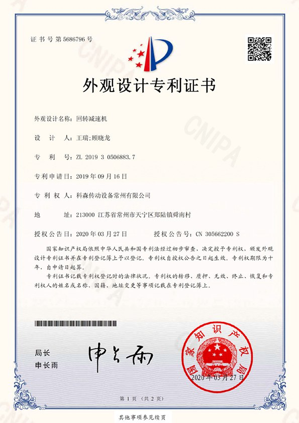 Certificate ISO CE Patent